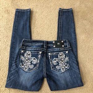 Miss Me Designer Fleur De Lis Dark SkinnyJeans